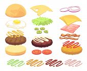 Sandwich And Burger Food Ingredients Cartoon Vector Set. Illustration Of Cheeseburger And Hamburger, poster