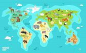 Cartoon World Map With Animals, Oceans And Continents. Funny Geography For Kids Education Vector Ill poster