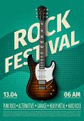 Vintage Rock Festival Flyer With Electric Guitar. Retro Music Concert Affiche, Poster With Typograph poster