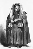 image of rabbi  - Jewish rabbi dressed for prayers - JPG
