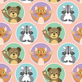Cute Little Animals Seamless Pattern. Bear, Cat And Raccoon In Color Circles On A Pink Background. F poster