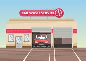 Red Car On Car Wash Service Vector Illustration. Flat Style. Clipart poster