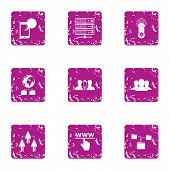Interactive Guard Icons Set. Grunge Set Of 9 Interactive Guard Vector Icons For Web Isolated On Whit poster