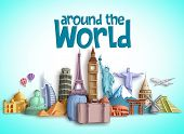 Travel Around The World Vector Banner Design With Travel Destinations And Famous Tourist Landmarks O poster