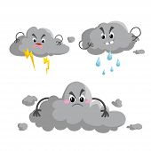 Cartoon Overcast Storm Cloud With Thunderstorm Mascotsset. Weather Rain And Storm Symbols. Vector Il poster