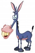 pic of mule  - Vector illustration of a funny smiling donkey - JPG