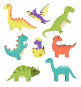 Creatures Types Of Dinosaurs, Dinosaurs With Spikes, Wigs And Long Tails, Egg And Small Dinosaur Vec poster