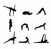 Set Of  Color Yoga Silhouette. Woman Doing Yoga Exercises Collection. Yoga Postures Silhouette. Figu poster