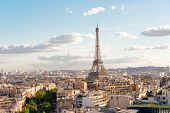 Panoramic View Of Famous Eiffel Tower And Paris Roofs, Paris France poster
