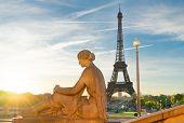 Famous Eiffel Tower From Trocadero Garden In Sunrise Light, Paris, France poster