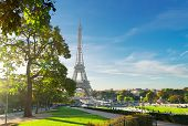 View Of Eiffel Tower Landmark From Trocadero At Sunrise, Paris, France poster