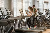 Side view of fit young man and woman smiling while running side by side on modern electric treadmill poster