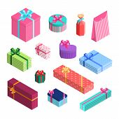 Vector Isometric Gift Boxes Set Of Different Size With Ribbons And Bows Wrapped In Packaging Paper.  poster