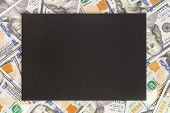 Money Background With Black Mockup. Copyspace Dark Place For Text. Us Currency One Hundred Dollar Ba poster