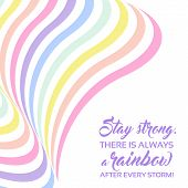 Pastel Rainbow Background, Inspirational Quote Lettering - Stay Strong poster