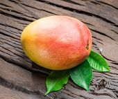 Ripe mango fruit with mango leaves on wooden background. poster