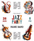 Jazz Music Party Poster With Musical Instruments. Saxophone, Guitar, Cello, Gramophone With Grunge W poster