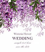 Wedding Invitation Card With Wisteria Flowers Vector. Beautiful Flower Decor. Gorgeous Nature Beauty poster