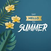 Hello Summer Vector Illustration For Background, Mobile And Social Media Banner, Summertime Card, Pa poster