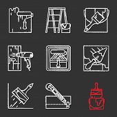 Construction Tools Chalk Icons Set. Paint Roller, Scaffolding Ladder, Bucket With Brush, Hot Air Gun poster