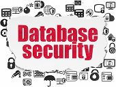 Security Concept: Painted Red Text Database Security On Torn Paper Background With  Hand Drawn Secur poster