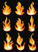 Set Of Isolated Fire Or Hot Flame Icons. Blazing Bonfire Or Burning Campfire, Bright Wildfire, Glowi poster