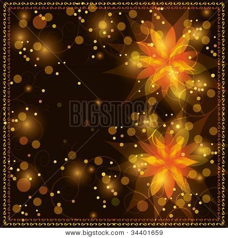 Floral Background With Golden Ornament