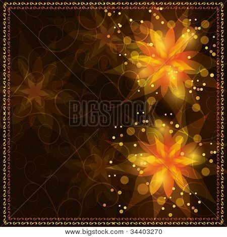 Bright Floral Background With Golden Ornament