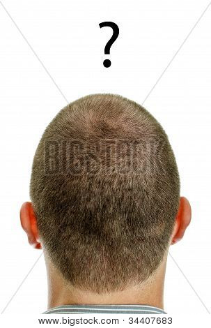 Closeup Of Mans Head With Question. Isolated On White.