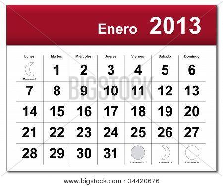 Spanish Version Of January 2013 Calendar