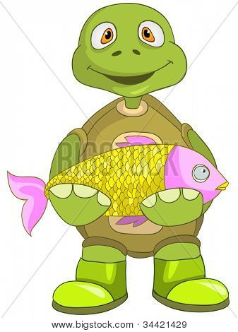 Cartoon Character Funny Turtle Isolated on White Background. Fisherman. Vector EPS 10.