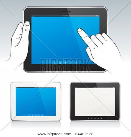 Vector of Digital tablet pc with hands, blank screen, white and black color.