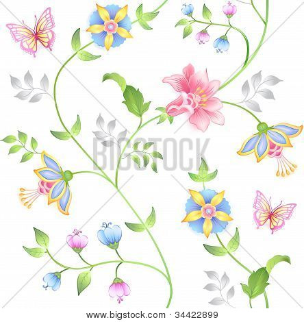 Decor seamless floral elements set