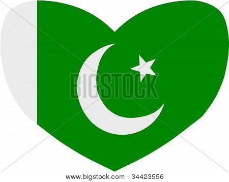 Heart Shaped Pakistani Flag