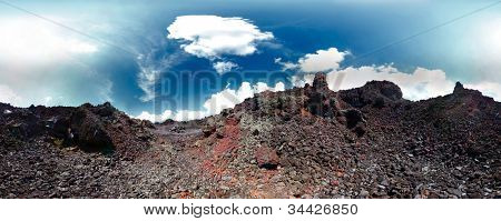 Panorama of a volcanic soil and blue sky with clouds