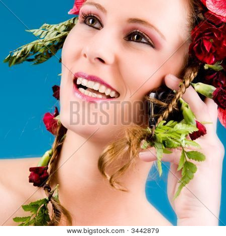 Flowergirl On The Phone