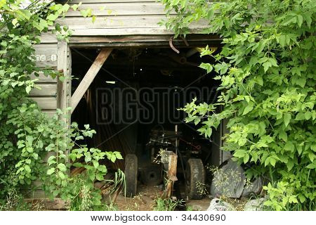 Open door to barn