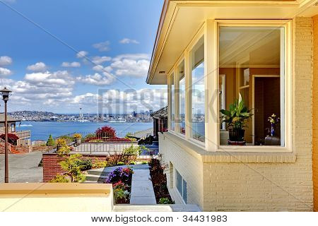 Amazing View Of Seattle From Modern House Exterior.