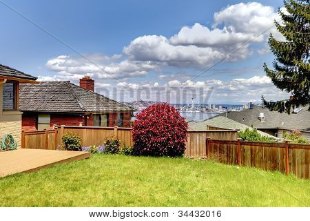 Back Yard With Fence And View Of Seattle Space Niddle.