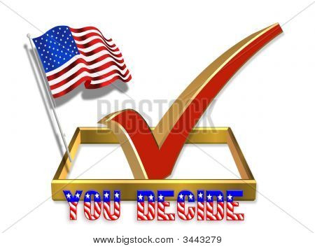 Vote Check Box 3D With American Flag