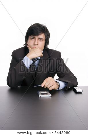Young Businessman, Working With Pda