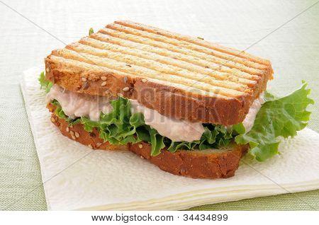 Grilled Tuna Sandwich On A Napkin