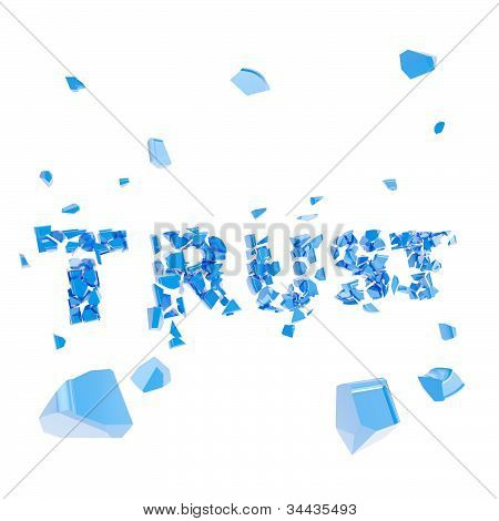 Failed trust as word broken into pieces