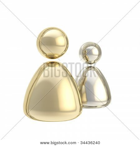 Symbolic golden and silver user icon figures
