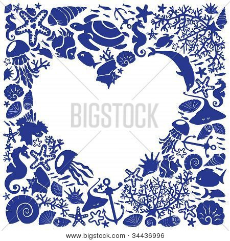 White Background Heart Is Surrounded Of Fishes, Dolphins, Shells, Corals, Meduses, Seahorses