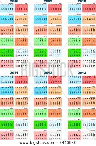 Calendar 2008 To 2013