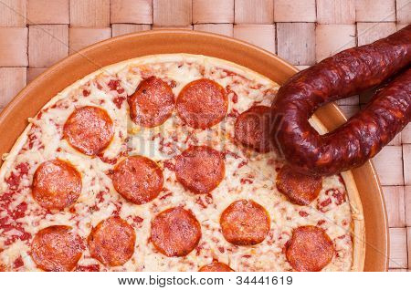 Pizza With Spicy Sausage Salami