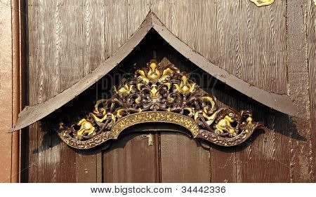 Malay door roof hood carving and detail