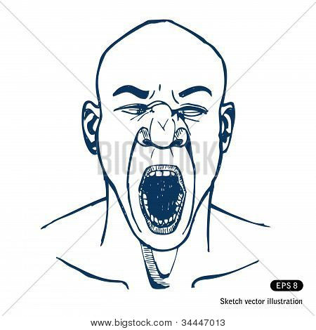 Shouting or yawning man. Open mouth