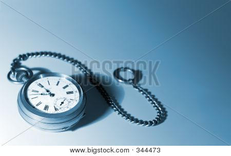 Isolated Pocket Watch With A Chain, Tinted Blue